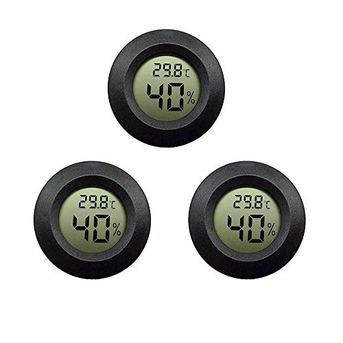 Thlevel Mini Termómetro Higrómetro Digital Interior de Temperatura y Humedad, Negro 3 PCS - B