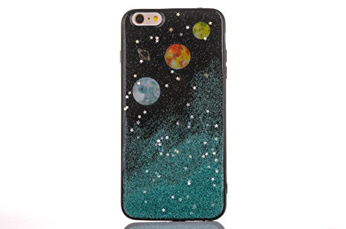 "CrazyLemon Hülle für iPhone 8 iPhone 7, 3D Schön Bunt Bling Funkeln Orange Grün Star Mond Planet Silber Sternennacht Galaxis Epoxy-Prozess Weich TPU Hülle für iPhone 8 iPhone 7 4.7"" - Orange"