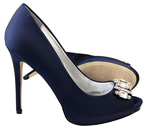Femmes Sabatine Satin diamante cluster nuptiale chaussures de mariage Marine