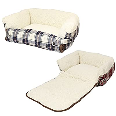 Me & My Dog/Cat Fold Out Bed with Sofa Protector - Available in Red or Blue - Small/Medium/Large - inexpensive UK light store.
