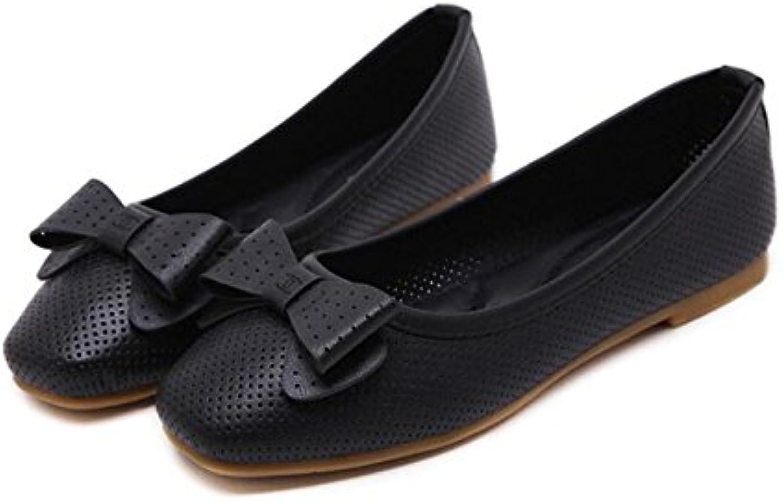 KHSKX-Pajarita Fondo Blando Zapatos De Mujer Un Cuadrado Zapatos Planos Cómodo Y Versátil De Soja Negro Zapatos...