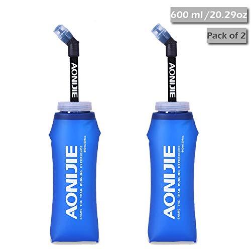 TRIWONDER TPU Soft Folding Trinkflaschen BPA-Free Collapsible Flask für Trinkrucksack - Ideal zum Laufen Wandern Radfahren Klettern (600ml / 20.29 oz - Packung mit 2)