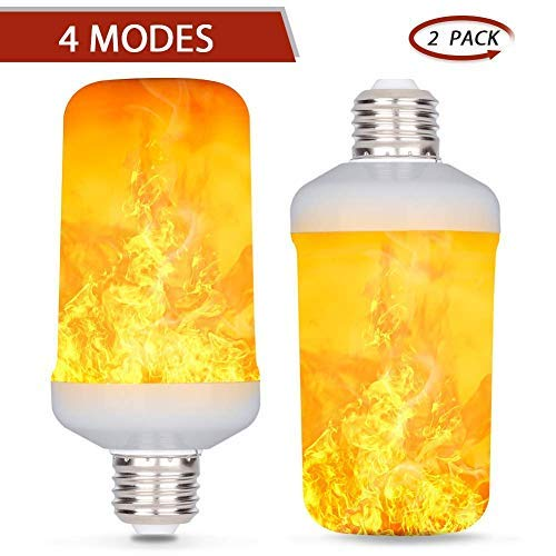 Yuanj E27 LED-Flamme Effekt Fire Gl¨¹hlampen - Creative Leuchten mit flackerndem Emulation - Vintage Atmosph?re Deko - Simuliert Gas Hurricane Laterne - warm wei?£¨2pack£©