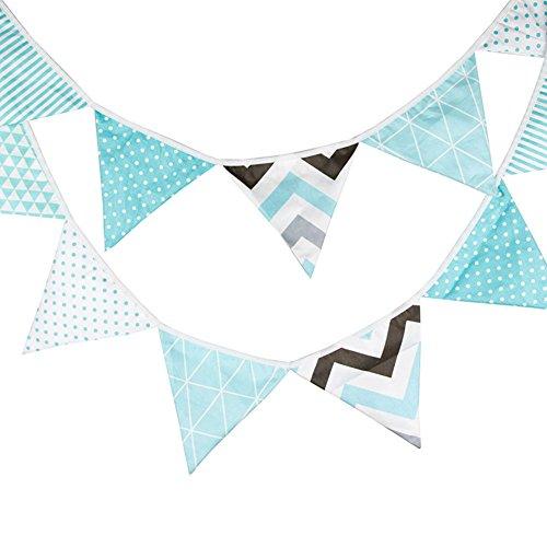 Demarkt Blau Wimpelkette Dekoration Wimpel Bunting Farbenfroh Wimpel Wimpeln auf Baumwolle Fahnen Banner für Weihnachts Hochzeit Geburtstag Party Dekoration 12Pcs