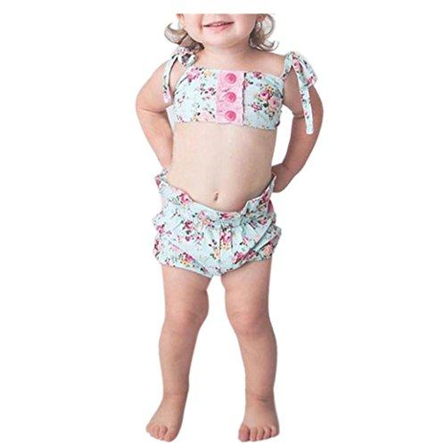 Bekleidung Longra Baby Kleinkind Mädchen Floral Print Bikini Sets Anzug Badeanzüge Badebekleidung Baden Babykleidung (0-24Monate) (65CM 6Monate, Green) (Print-zebra-bikini)