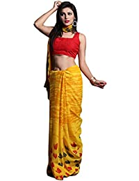 1 Stop Fashion Women's Yellow Color Georgette Saree With Digital Print & Blouse