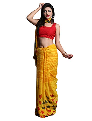 1 Stop Fashion Women\'s Yellow Color Georgette Saree With Digital Print & Blouse