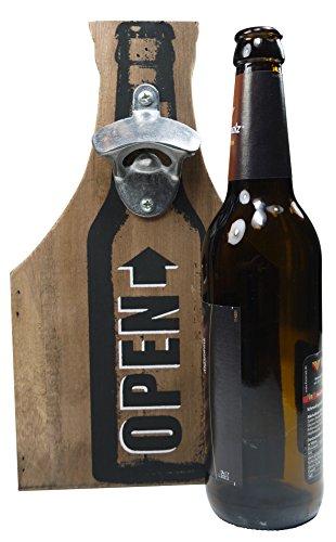 Khegva wooden bottle holder with opener, carries 6 beer bottles