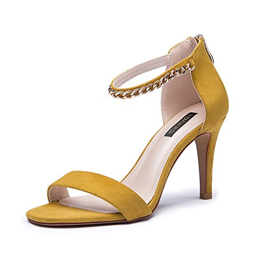 Chaîne creux été Dame de chaussures en daim peep-toe stiletto/Santals de haut talon B