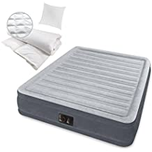 Ventaja Pack cama de aire Intex Promo Pack Incluye Edredón, almohada y bomba de aire integrada | Intex Colchón inflable (203x 152x 46cm, Techo 135x 200cm de plumón de pato, funda de almohada de 80x 80cm, 100% poliéster