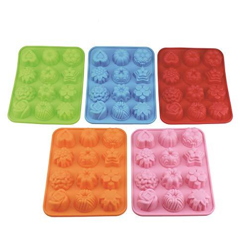 (Lot de 5) 12 cavité Fleur Silicone Savon Moule à gâteau à pain Moule à chocolat Jelly Bonbons Moule à gâteau – 5 couleurs (rose, bleu, orange, vert, rouge)