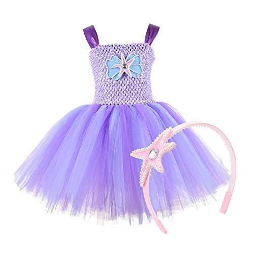 NSSONBEN Meerjungfrau Tütü Kleid Mädchen Tüll Tütü Lila Kinder Mermaid Baby Tütü Mädchen mit Stirnband für Geburtstagsfeier, Cosplay, Hochzeit,Halloween(7-8T) (Für Kleine Meerjungfrau-kostüm Die Kinder)