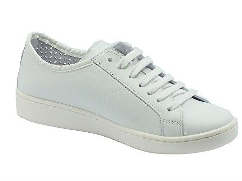 KEYS 5251 weiß weiße Schuhe Frau Turnschuhe perforiert Schnürsenkel Bianco