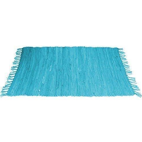 Flickenteppich blau  90 x 60 cm Flickenteppich Dekoteppich Fransenteppich ...