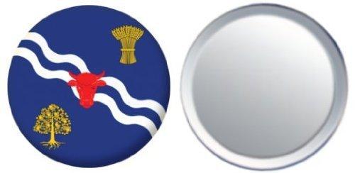 Miroir insigne de bouton Angleterre Oxfordshire drapeau - 58mm