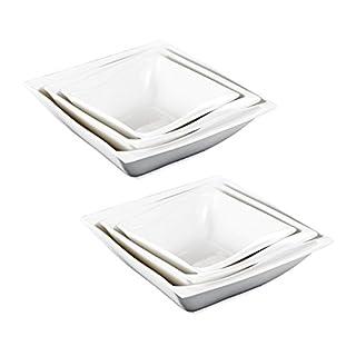 MALACASA, série Flora, 6 pièces Blanc Ivoire Bols en Porcelaine Chine en céramique Assiettes à Soupe Blanc crème dîner Combi-Set de 2 pièces