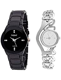 8f4c9f3a495 Anjani IW Collection Analog Silver Colour Chain Type Belt with Black Watch  for Girls and Womens