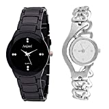 Anjani IW Collection Analog Silver Colour Chain Type Belt with Black Watch for Girls and Womens Combo of 2 -GH52