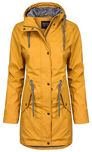 ODYSSEE Damen Regen Mantel Parka Jacke mit Kapuze, Farbe:gelb, Größe:M