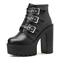 LFLXUE New Women Ankle Boots Side Zipper Buckle Gothic Boots Platform Block Heel Girls School