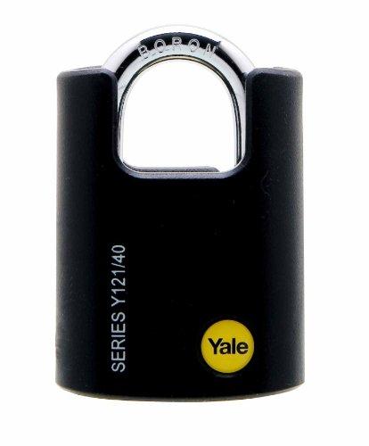 Yale Y121/40/125/1-Candado de Seguridad Exterior de 40mm, grillete Cerrado, 3Llaves-para...