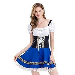 VEMOW Cute Design Elegant Damen Costume Blau Verband Troddel Oktoberfest Kostüm Bayerisches Bier Mädchen Dirndl Kleid(Blau 4, EU-38/CN-L)