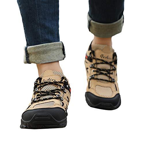 JiaMeng Zapatillas Deporte Hombre Zapatos de Entrenamiento para Hombre Malla Respirable Zapatillas para Caminar al Aire Libre Zapatos Antideslizantes(Caqui,EU42=CN43)
