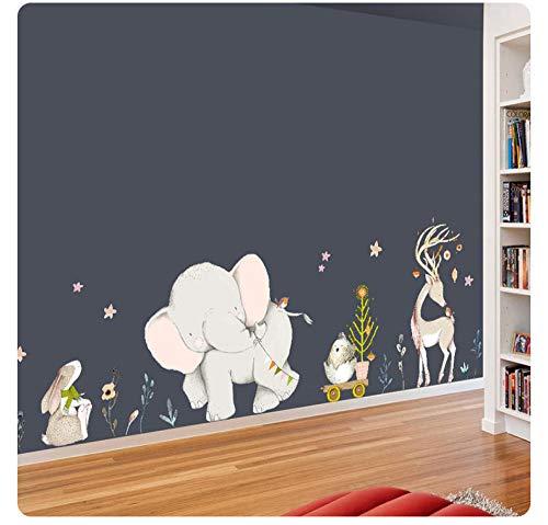 Wandaufkleber PVC Cartoon Anime Aufkleber Elefant Giraffe Kaninchen glücklich Geschichte Kinderzimmer Dekoration Antifouling wasserdicht (Eine Einfache Geschichte Von Halloween)