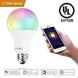 Smart E27 RGBW Warmweiß & Farbe LED Glühbirne, Sprach und APP Kontrollierte, 16 Million Multicolor, Dimmbare Weiß, Kompatibel mit Amazon Alexa, 100-Watt-Äquivalent, UL gelisted (1 Pack)