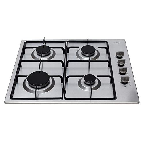 41l7g R28 L. SS500  - CDA HG6150SS 4 Burner Stainless Steel Gas Hob With 58 Centimeter Width, Enamel Pan Support, Automatic Ignition and Flame Failure Safety Device