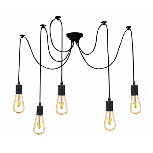 Retro Pendelleuchte Industrielle Deckenleuchte höhenverstellbar Hängeleuchte 5X E27 Fassung DIY Lampe Ideal für Nostalgie und Retro Beleuchtung (ohne Birne)