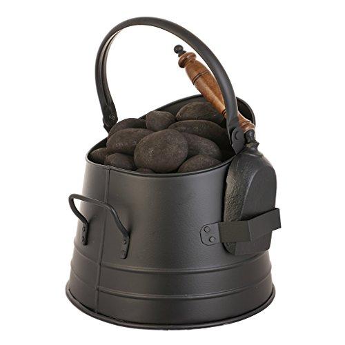 Vintage negro mate tienda de combustible - Fireside accesorio para sostener troncos...