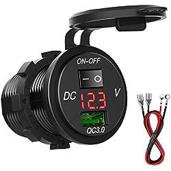 SONRU QC3.0 Prise USB Voiture, 12V / 24V 18W étanche Quick Charge 3.0 Adaptateur de Chargeur USB avec Interrupteur et indicateur LED pour Voiture RV ATV Boat Marine Moto Mobile