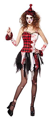6Jester Lady Scary, UK 10–14 (Evil Jester Clown Kostüm)