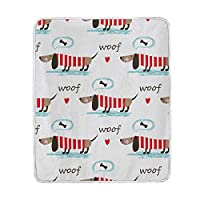 BALII Sausage Dog Puppy Throw Blanket Soft Warm for Bed Sofa Couch Travelling 127x153cm