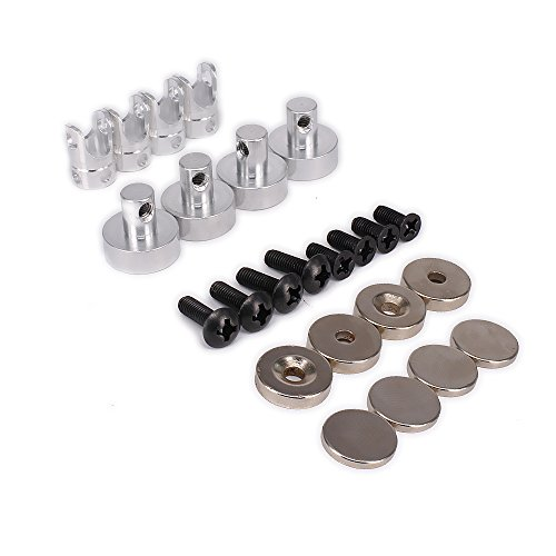 RCAWD Shell Mount Posts Magnetische Stealth Unsichtbare Körper 21mm Lange N10078 Alloy Aluminium für 1/10 RC Hobby Model Auto HSP WLtoys Axial Himoto Traxxas HPI Redcat 4Pcs(Silber) -