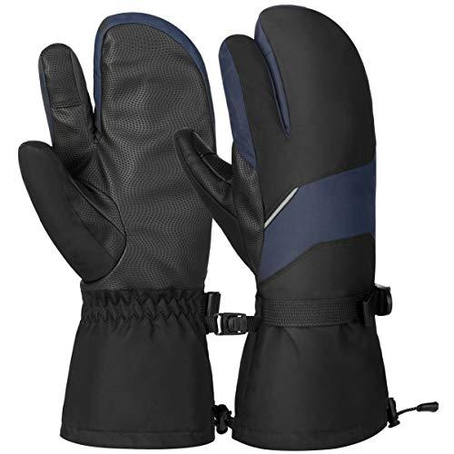 Vbiger Skihandschuhe Herren Winterhandschuhe Touchscreen Handschuhe Outdoor Sports Handschuhe für Skifahren Snowboarden Wärme Wasserdicht Winddicht für Herren und Damen, Schwarz, S