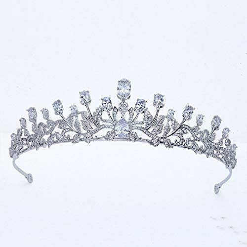 roroz Silberhochzeit Tiara für die Braut, Hochzeit Krone, Braut Tiara Blattform Zirkonia Crown Princess Crown Crystal Braut Kopfschmuck,Silver (Ideen Princess Halloween-kostüme)