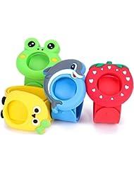 AcTopp Bracelets Anti-Moustiques / Anti-Insectes pour Enfants et Adultes en Silicone Lot de 4 Non-Toxique Formes Mignonnes Cartoon Bleu, Vert, Rouge et Jaune