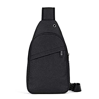 ASDFG Teens Fashion Bike Hiking Nylon Sling Bag Carrying For Ipad Smart Phone Wallet Crossbody Chest Shoulder Bags 22 * 36 * 7Cm,Black