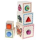 Homyl Holz Stapelwürfel Stapelblöcke Stapelbox Stapel Spielzeug mit Verschiedenen Tieren / Zahlen Muster