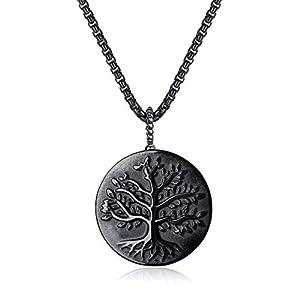 coai Unisex Halskette mit Baum des Lebens Anhänger aus Obsidian