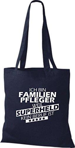 Shirtstown Stoffbeutel Ich bin Familien Pfleger, weil Superheld kein Beruf ist navy