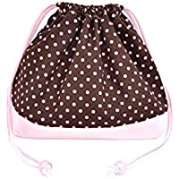 Preisvergleich für x Ox pink made in Japan N3466300 (pink dots on chocolate ground) drawstring Gokigen lunch (medium size) with gusset lunch bag polka dot (japan import)