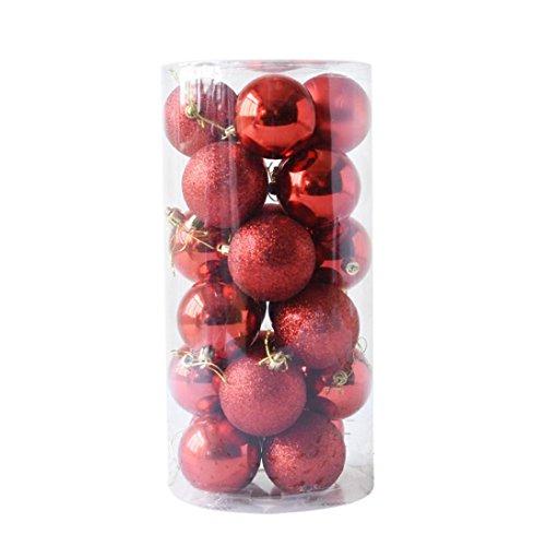 Gaddrt 24pcs Glänzender und polierter glatter Weihnachtsbaum-Ball verziert Dekorationen 1.5 '' (Rot)