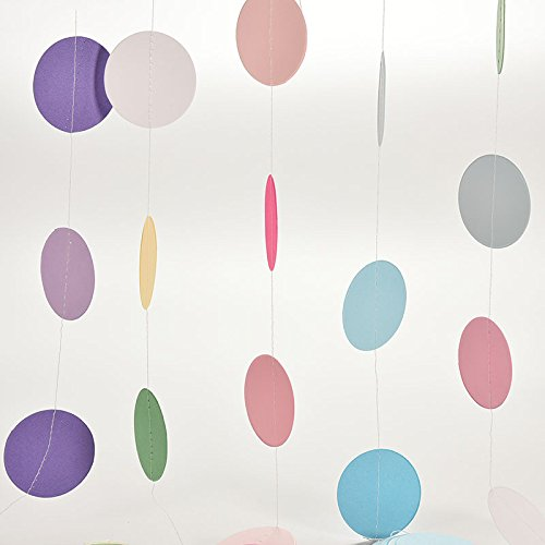 eit Hintergrund Deko Geburtstag Dekorationen, Foto Requisiten Papier Kreis hängende Dekoration String Papier Girlande Party Baby Dusche Hintergrund dekorative Banner Pink (Jessie Party Supplies)