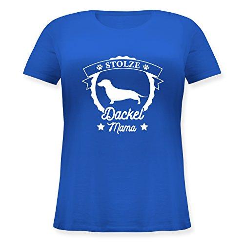 Shirtracer Hunde - Stolze Dackel Mama - Lockeres Damen-Shirt in Großen Größen mit Rundhalsausschnitt Blau