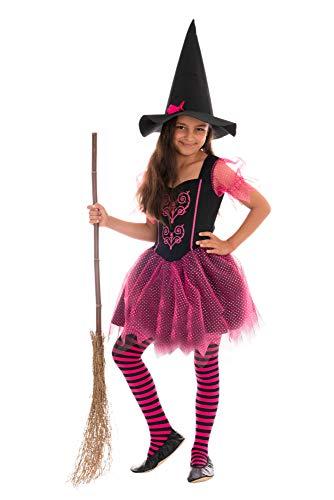 Hexe Kostüm Jede - Magicoo märchenhaftes Hexenkostüm Kinder Mädchen pink-schwarz - Kleid & Hut - Gr 92 bis 140 - Halloween Hexe-Kostüm Kind (110/116)