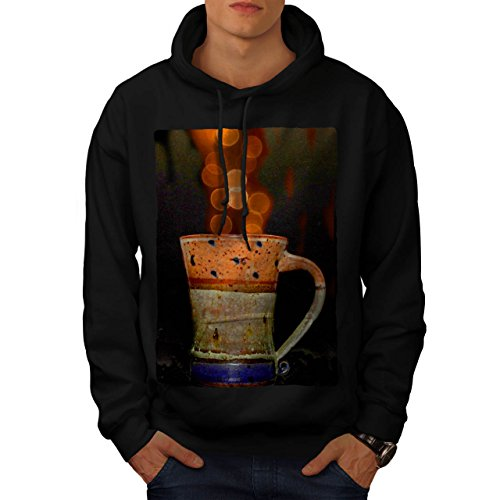 stylish-cup-of-tea-color-bubbles-men-new-black-m-hoodie-wellcoda