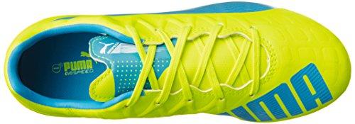 Puma Evospeed 4.4 Ag Jr Unisex-Kinder Fußballschuhe Weiß / Gelb / Blau